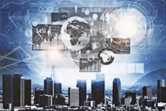 Management concept. Modern night city with abstract business chart hologram. Management concept. 3D Rendering Stock Images