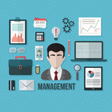 Management concept with objects and devices. Flat design vector illustration Stock Image