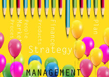Management concept,Risk , balloons and pencils on yellow background. Yellow pink green blue red balloons  ,business concept  risk management on yellow background Royalty Free Stock Photography