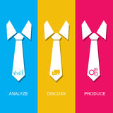 Management concept with tie and specified steps of process Royalty Free Stock Photo