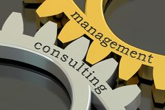 Management Consulting concept on the gearwheels, 3D rendering Royalty Free Stock Image