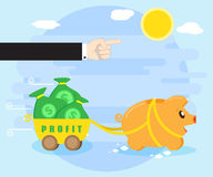 Management and control of resulting profits. Businessman hand shows way of a happy pig piggybank, which carries a profit Royalty Free Stock Images