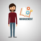 Management design. Person icon.  illustration. Management concept with icon design, vector illustration, person with business and money icon Royalty Free Stock Photos