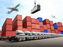 Management distribution at container yard for transport business stock photography