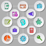 Management and finance flat design icon set. Set of flat design icons with brain gears inside head of businessman surrounded management and finance pictograms Stock Images