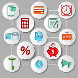 Management and finance flat design icon set. Set of flat design icons with brain gears inside head of businessman surrounded management and finance pictograms Royalty Free Stock Image
