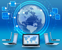 Management of financial operations in the global. Internet Stock Image