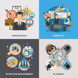 Management Flat Set Stock Photos