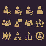 The management icon, set of 12 icons. Team and group, teamwork, people, alliance, management symbol. UI. Web. Logo. Sign Royalty Free Stock Photos