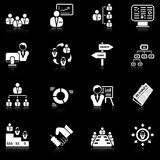 Management icons - black series. Set of 16 professional management icons with reflection, black series Royalty Free Stock Images