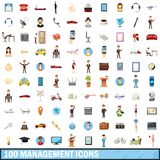100 management icons set, cartoon style. 100 management icons set in cartoon style for any design illustration royalty free illustration