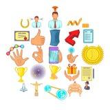 Management icons set, cartoon style. Management icons set. Cartoon set of 25 management vector icons for web isolated on white background Stock Photography