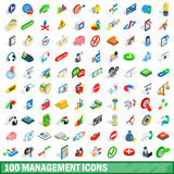 100 management icons set, isometric 3d style Stock Images