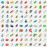 100 management icons set, isometric 3d style Royalty Free Stock Photos