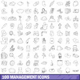 100 management icons set, outline style Royalty Free Stock Photo