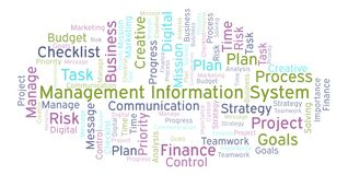 Management Information System word cloud, made with text only. Management Information System word cloud, made with text only royalty free illustration