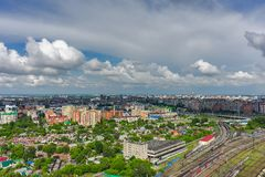 Management office of post transportations. Tyumen. Tyumen, Russia - June 8, 2015: Aerial view on management office of post transportations Royalty Free Stock Photos