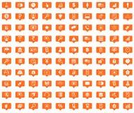 Management orange message icons set Royalty Free Stock Images