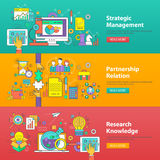 Management, Partnership and Research. Flat design illustration concepts for Strategic Management, Partnership Relation and Research Knowledge. Concepts for web royalty free illustration