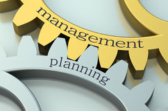 Management and Planning concept on the gearwheels Stock Images