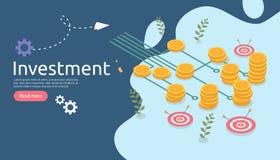 management or return on investment concept. online business strategic for financial analysis. isometric design vector illustration stock illustration