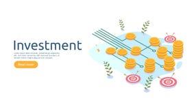 management or return on investment concept. online business strategic for financial analysis. isometric design vector illustration royalty free illustration