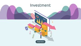 management or return on investment concept. online business strategic for financial analysis. isometric design vector illustration royalty free illustration