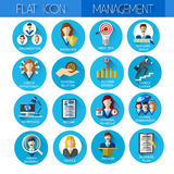Management Set Business Icon Collection Royalty Free Stock Images
