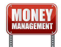 Management Sign. Money management red street sign over a white background Stock Images
