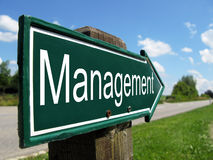 Management signpost. Along a rural road Stock Photos
