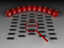Management solution. 3d rendering of management in red cubes and finding solution among a risk with magnifying glass Royalty Free Stock Images
