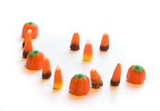 Management Staring Down Labor. Photo of an odd group of candy corn royalty free stock images