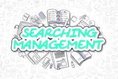 Management suchen - Karikatur-grünen Text Die goldene Taste oder Erreichen für den Himmel zum Eigenheimbesitze Lizenzfreies Stockbild