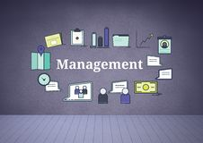 Management text with drawings graphics Stock Photography