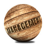 Management on wooden ball Royalty Free Stock Image