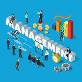 Management word businessmen corporate flat 3d isometric. Flat 3d isometric management concept web infographics  illustration. Micro businessmen group big Royalty Free Stock Photo
