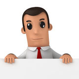 Manager. 3d funny cartoon character manager on white background Royalty Free Stock Photo