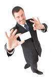 Manager. In black suite with visit card Royalty Free Stock Photo