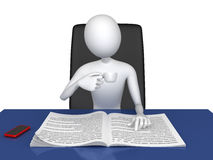 Manager. 3D. Manager sits at the table, drinking coffee and reading the newspaper Royalty Free Stock Image
