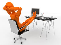 Manager. Orange mannequin to sit at the table Stock Image