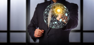 Manager Accessing Virtual Global Mesh Network Stock Photos