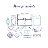 Manager Accessories Sketch Set Royalty Free Stock Photo