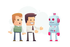 Manager advertises new assistant robot Stock Images
