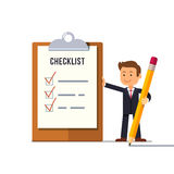 Manager with all tasks done. Little business man with marked checklist on a clipboard paper. Ticks on a paper check list. Manager with all tasks done. Flat style Stock Photos