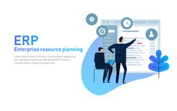 IT manager on ERP Enterprise Resource Planning screen with business intelligence, production, HR and CRM modules. IT manager analyzing the architecture of ERP stock illustration