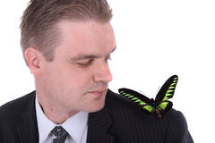 Manager And Butterfly Royalty Free Stock Photography