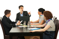 Manager argue employee at meeting. Manager argue one of employees at meeting Stock Image
