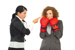 Manager argue employee woman stock images