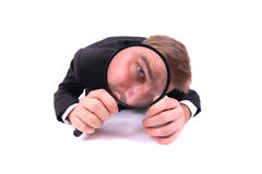 Manager as spy. Isolated on the white background Royalty Free Stock Image