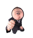 Manager as spy. Isolated on the white background Stock Photography